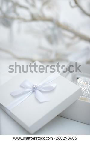 Stylish white gift box - stock photo