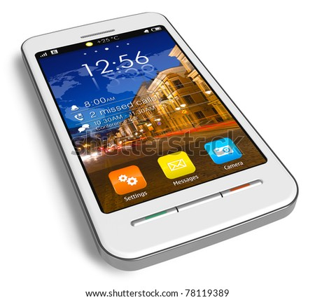 Stylish white touchscreen smartphone isolated on white reflective background - stock photo