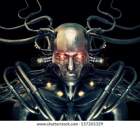 Stylish wired cyber man - stock photo