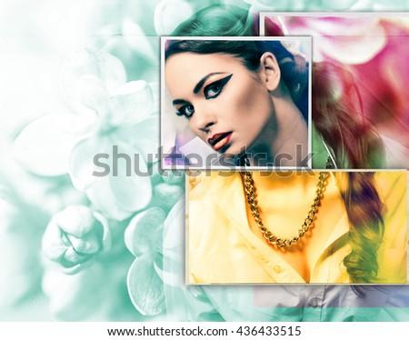 stylish woman. art photo - stock photo