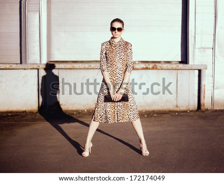 Stylish woman in a leopard dress, sunglasses and bag in the ghetto evening, street fashion - stock photo