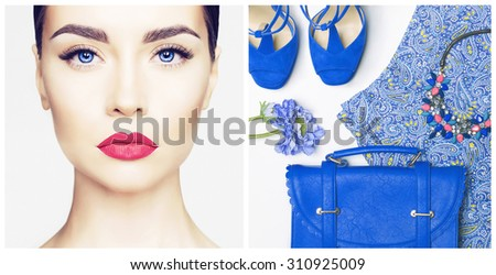 Stylish woman outfit in blue colors on white background - stock photo