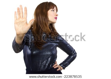 stylish woman refusing or saying no with hand gesture - stock photo