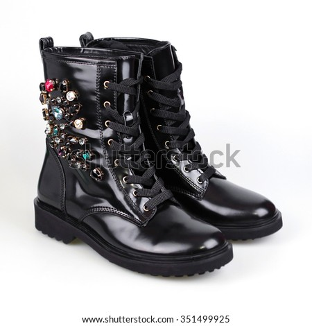 stylish women boots with stones - stock photo
