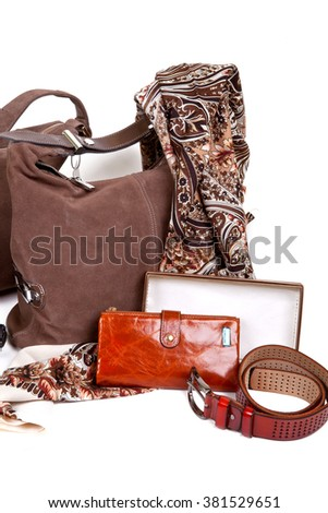 Stylish women's autumn brown accessories on a white background