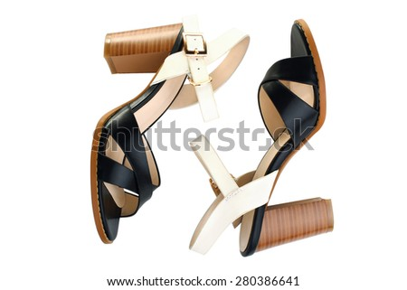 Stylish Women's sandals isolated - stock photo