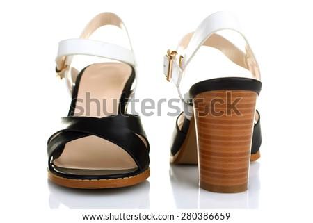 Stylish Women's sandals isolated - stock photo