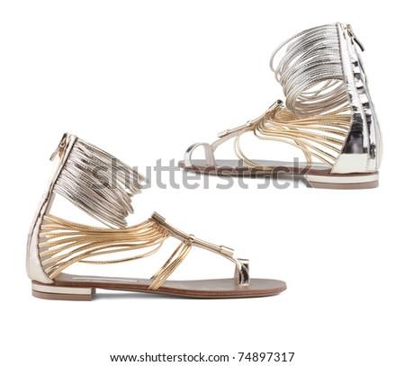 Stylish women's shoes on a white background. - stock photo