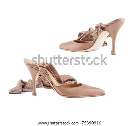 Stylish women's shoes on a white background. - stock photo