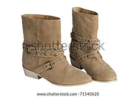 Stylish women's suede cowboy boots - stock photo