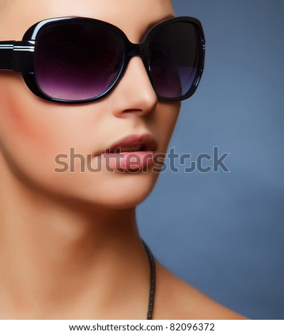Stylish women's sunglasses, close up studio isolated shot