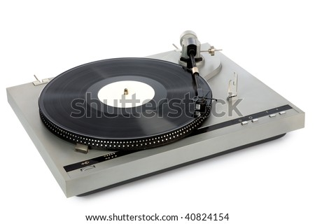 Stylish 20-years old turntable with vinyl record having blank label - stock photo