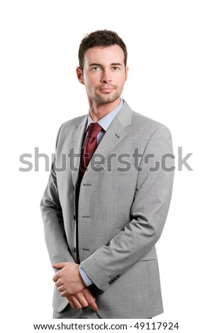 Stylish young confident businessman standing isolated on white background - stock photo