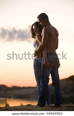 Stylish young couple - stock photo
