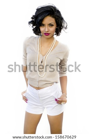 Stylish young exotic woman  - stock photo