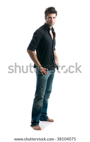 Stylish young latin man posing full length and looking at camera isolated on white background - stock photo