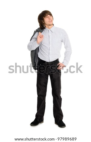 Stylish young man holding his jacket looking up - stock photo