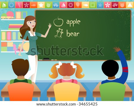 Stylish young teacher in classroom, teaching young students in preschool or elementary school setting. Words on chalkboard are drawn by hand. All like elments are grouped. - stock photo