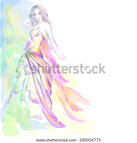 Stylish young woman aquarelle portrait - stock photo
