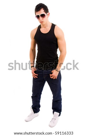 stylished young man full body wearing sunglasses on white background