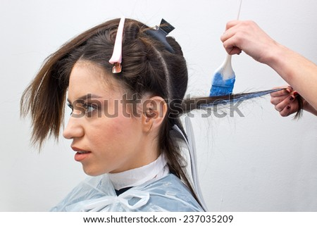 stylist coloring attractive woman hair in salon - stock photo