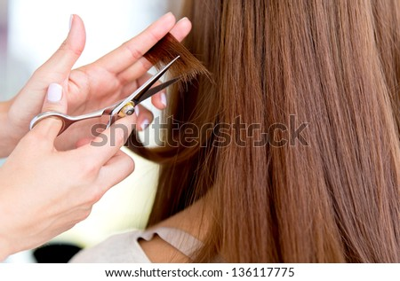 Stylist cutting split ends on her client at the salon - stock photo