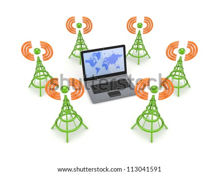Stylized antennas around notebook.Isolated on white background.3d rendered. - stock photo
