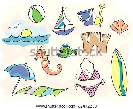 stylized beach icons - stock photo