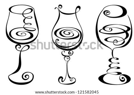 Stylized black and white wine glass - stock photo