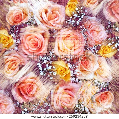 Stylized bouquet of pink and yellow roses on grunge striped wavy background - stock photo
