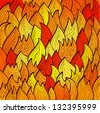 Stylized bright fire background with abstract flames Raster version of the vector image - stock vector