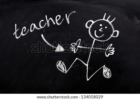 Stylized childlike drawing of a happy,smiling teacher in liquid chalk on a used blackboard. - stock photo