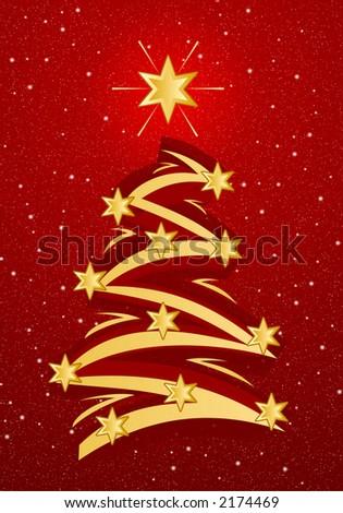 Stylized christmas tree illustation - Gold on red snowfall background - stock photo
