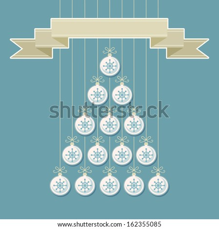 Stylized christmas tree made from white balls with snowflakes and banner. Original holiday invitation, greeting card. Vintage winter light background. Abstract drawing decorative illustration