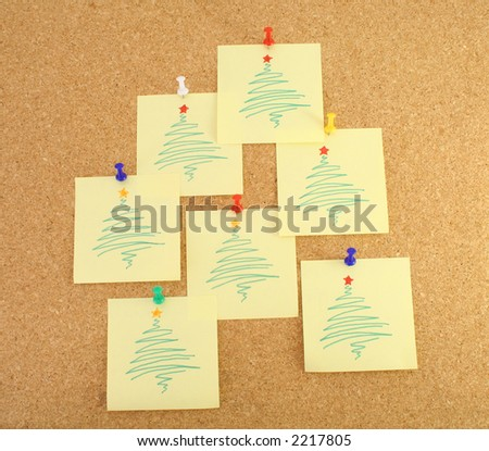 Stylized Christmas tree notes on Santa's message board - stock photo