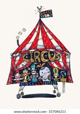 stylized circus tent - stock photo