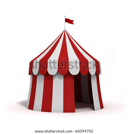 stylized circus tent, isolated on white background - stock photo