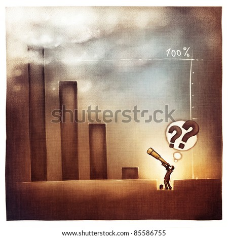 stylized conceptual business chart - businessman looking back - success & recession metaphor (artistic loose stylized painting) - stock photo