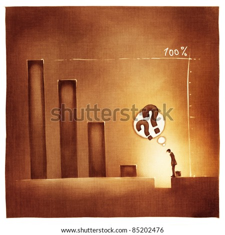 stylized conceptual business chart - loss incurred (artistic loose stylized painting) - stock photo