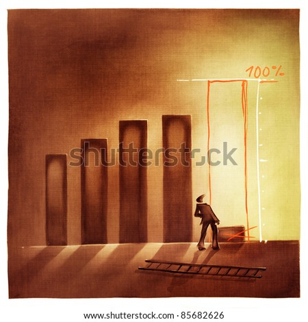 stylized conceptual business chart - pretending success metaphor (artistic loose stylized painting) - stock photo