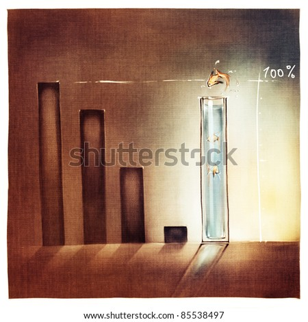 stylized conceptual business chart - success metaphor (artistic loose stylized painting) - stock photo