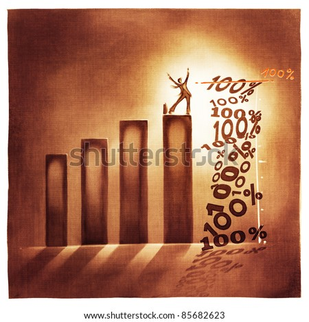 stylized conceptual business chart - 100% success metaphor (artistic loose stylized painting) - stock photo