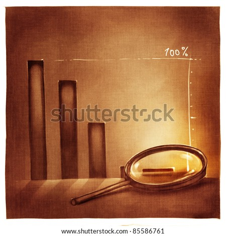 stylized conceptual business chart - success & recession metaphor (artistic loose stylized painting) - stock photo