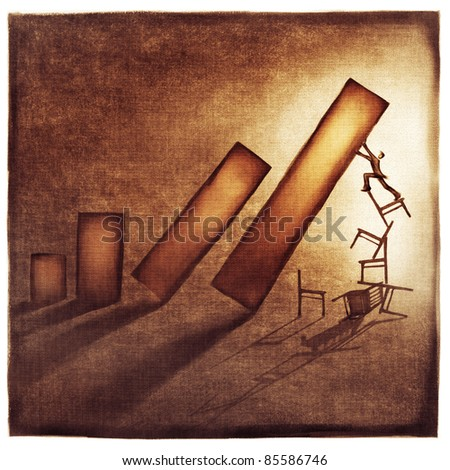 stylized conceptual business chart - success & support metaphor (artistic loose stylized painting) - stock photo