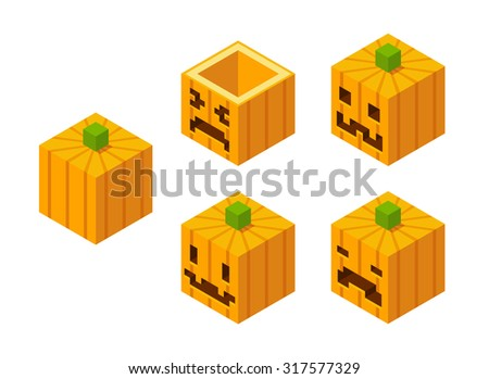 Stylized cubic Halloween Jack o' Lantern carved pumpkins with pixel faces. - stock photo