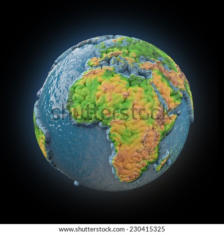Stylized 3d abstract Earth model - stock photo