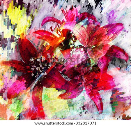 Stylized design of red lilies on  grunge stained and striped colorful dynamic background