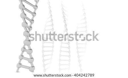 Stylized DNA Strand in a simple low poly 3D illustration on a bright background