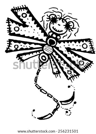 Stylized dragonfly - unique drawings and sketches