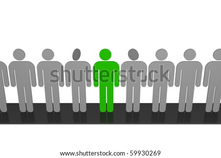 "stylized drawing of people who stood in line, along the podium and who are find among them ""other"" - stock photo"